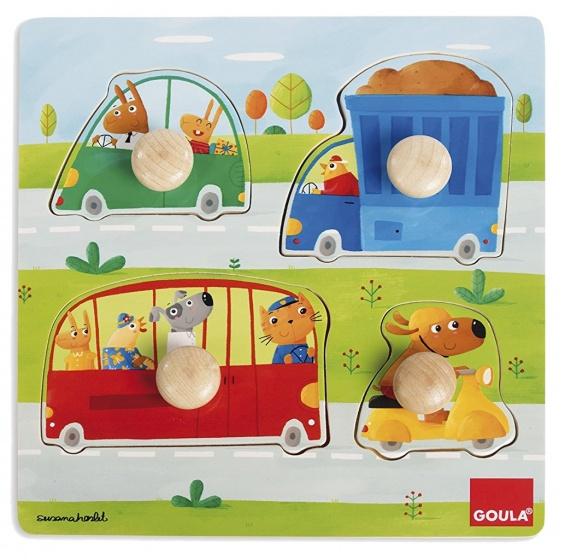 Goula vormenpuzzel voertuigen 4 stukjes