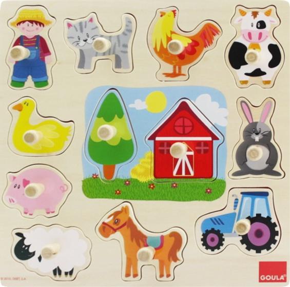 Goula vormenpuzzel vormen op de boerderij 12 stukjes