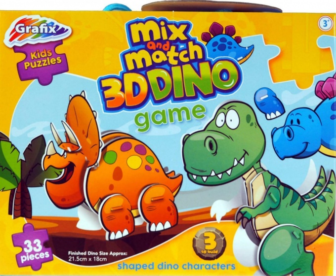 Grafix 3D puzzel Mix and Match Dino 33 stukjes