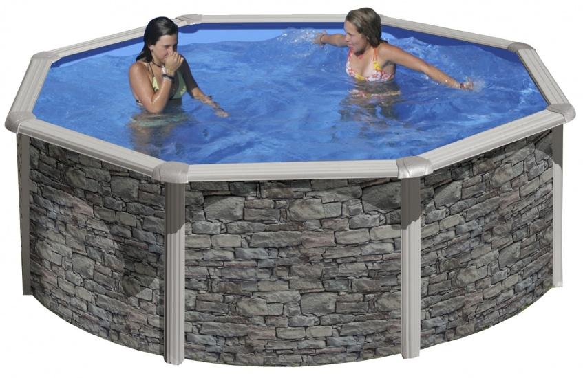 Gre Opzetzwembad Cerdena set rond grijs 350 x 120 cm