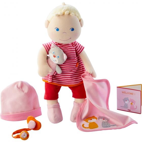 Haba babypop Jule roze-rood 6 delig 30 cm