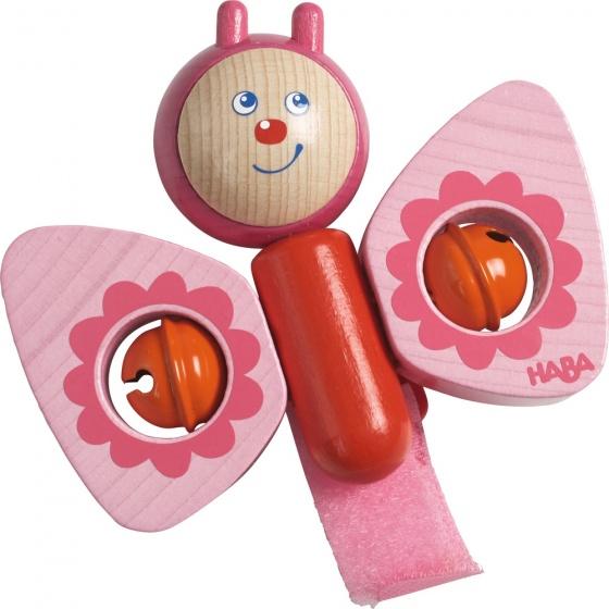 Haba houten buggy speelfiguur Vlinder 10,5 cm roze