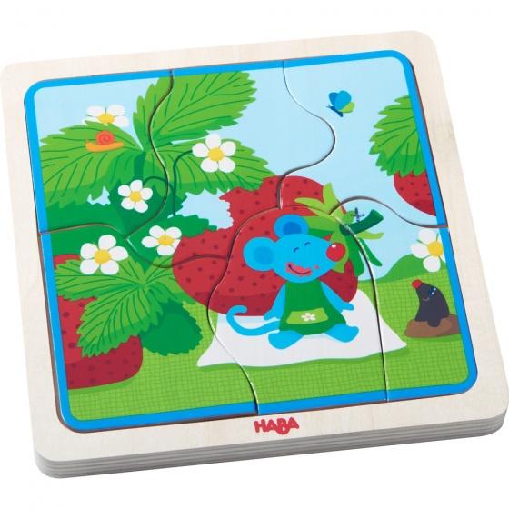 Haba houten puzzel aardbei muis 22 delig