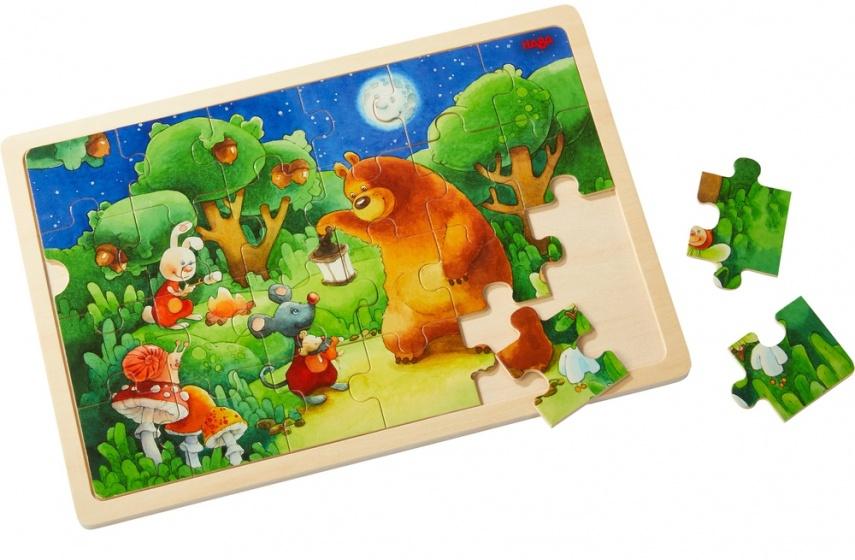 Haba Houten puzzel beer op wacht 24 stukjes