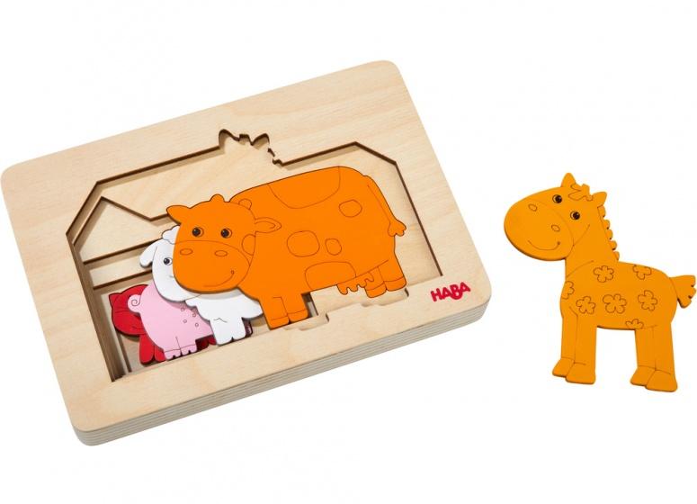 Haba houten puzzel boerderijdieren 18 cm 5 stukjes