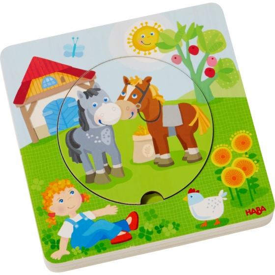 Haba houten puzzel boerderijwereld 5 stukjes