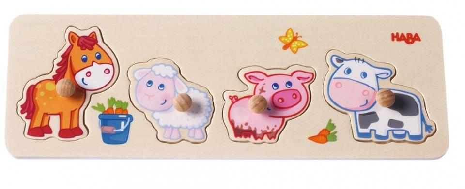 Haba houten puzzel Jongen op de boerderij 5 delig