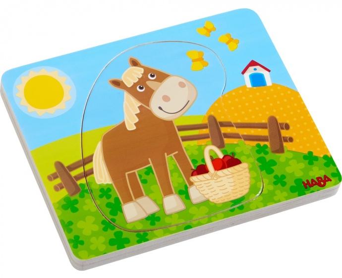 Haba houten puzzel vrolijk landleven 5 delig