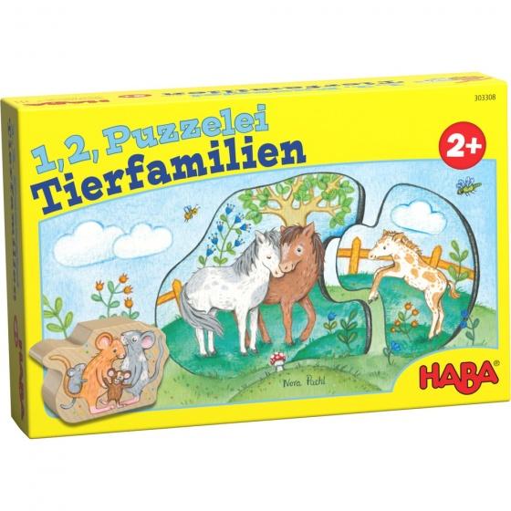 Haba kinderpuzzel 1, 2 puzzel mee dierenfamilie 11 delig