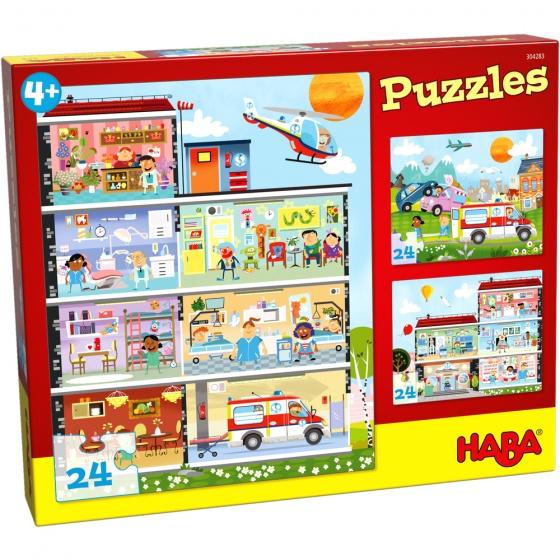 Haba kinderpuzzel het kleine ziekenhuis 3 puzzels 24 stukjes