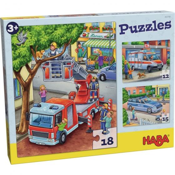 Haba kinderpuzzel politie, brandweer, ambulance 3 delig De