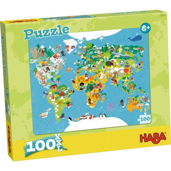 Haba kinderpuzzel wereldkaart 100 stukjes