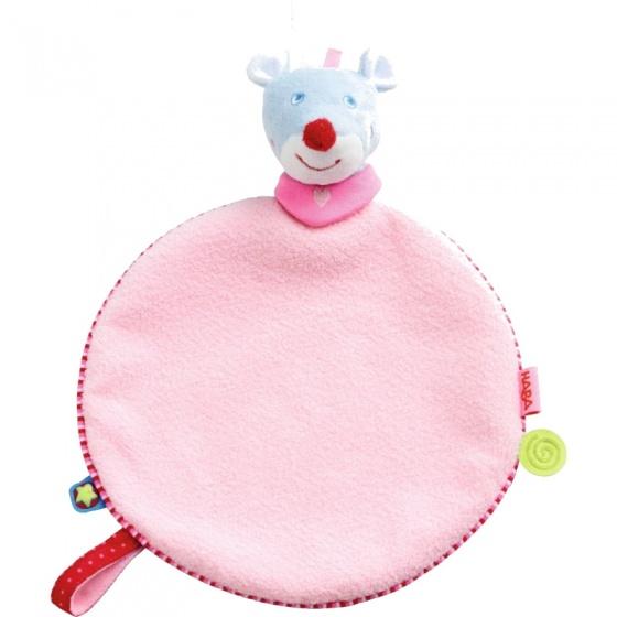 Haba knuffeldoekje muis Merle roze 27 cm