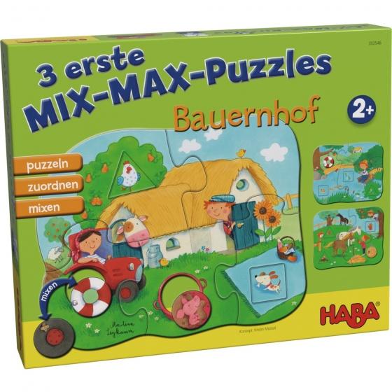 Haba mix max kinderpuzzels boerderij 4 delig De