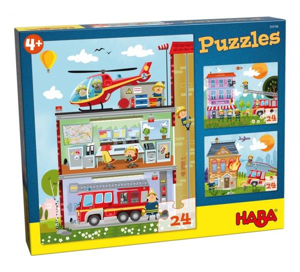 Haba puzzel Kleine brandweerkazerne 3 stuks 24 delig