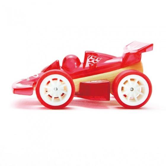 Hape Bamboe raceauto 8,5 cm rood