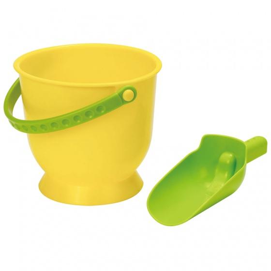 Hape emmer en schep geel/groen 16,5 cm