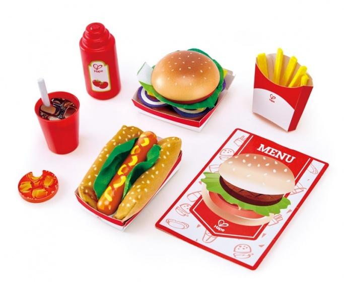Hape fastfoodset speelgoedeten 7 delig rood