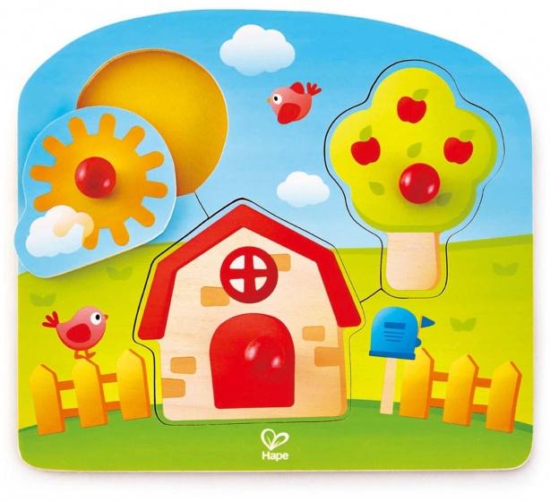 Hape grote stukken puzzel huis 3 stukjes