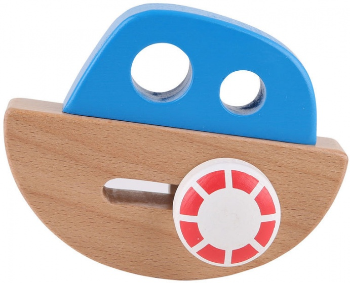 Hape houten balansbootje blauw 11,4 cm