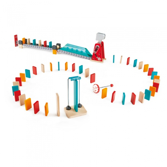Hape houten dominospel Mighty Hammer 59 delig