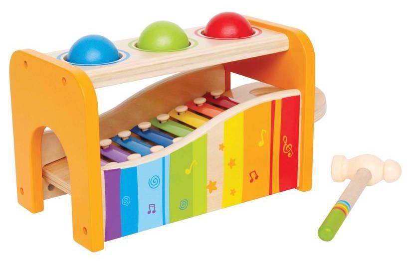 Hape houten hamerbank met xylofoon 6 delig
