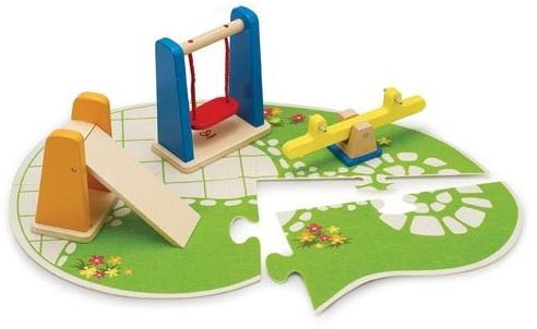 Houten speeltuin voor poppenhuis