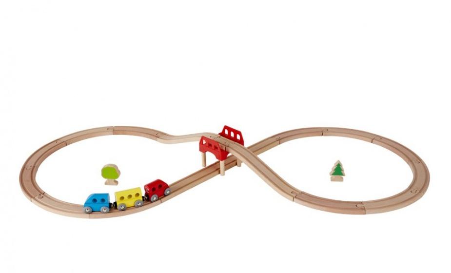 Hape 8 vormige houten spoorwegset