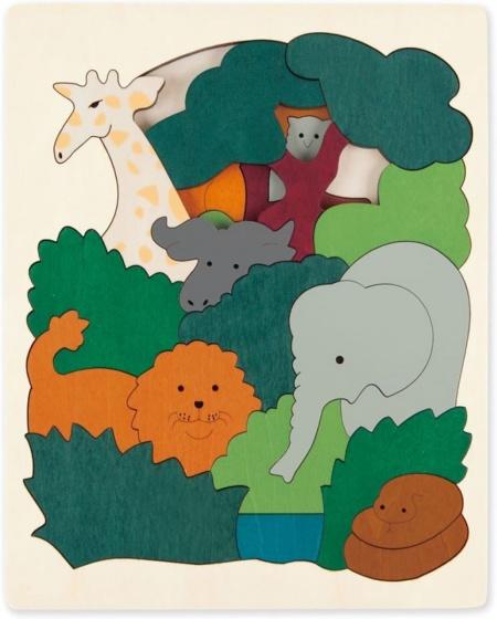 Hape houten vormenpuzzel African Animals junior blank 36 delig