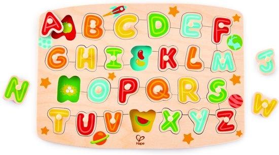 Hape houten vormenpuzzel Alfabet junior blank 27 delig