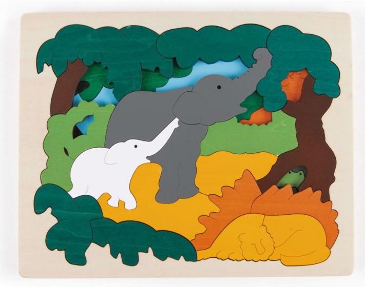 Hape houten vormenpuzzel Asian Animals junior blank 31 delig