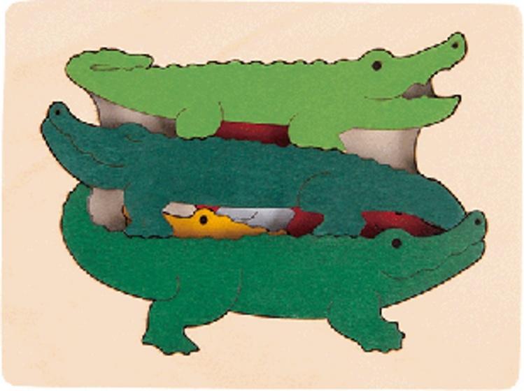 Hape houten vormenpuzzel Krokodil junior blank 7 delig