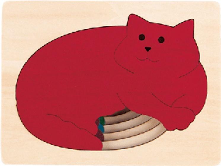 Hape houten vormenpuzzel Five Cats junior blank 6 delig