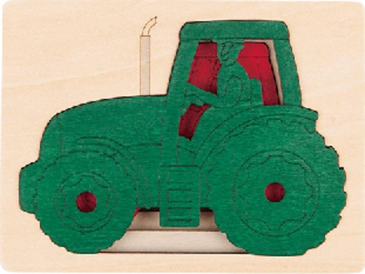 Hape houten vormenpuzzel Five Tractors junior blank 6 delig