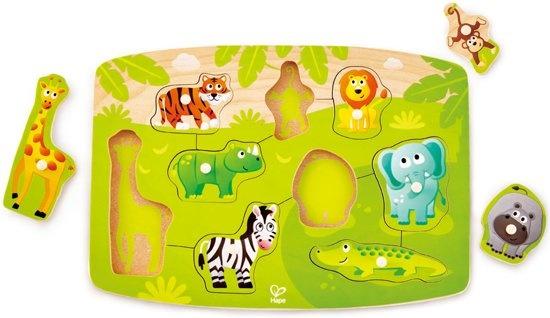 Hape houten vormenpuzzel Jungle Peg junior groen 10 delig