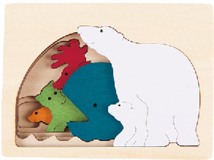 Hape houten vormenpuzzel Polar junior blank 6 delig