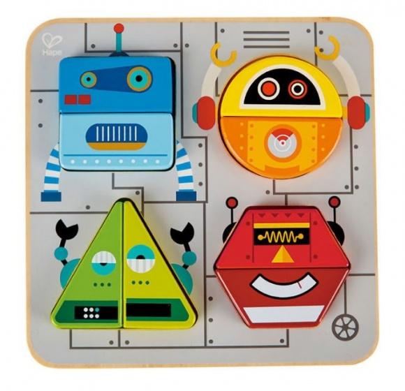 Hape houten vormenpuzzel Robot 9 delig
