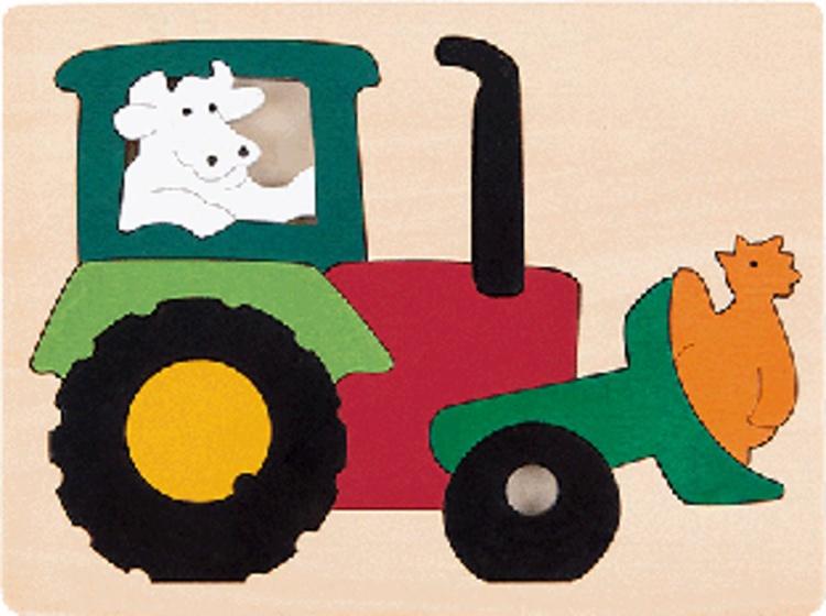 Hape houten vormenpuzzel Tractor junior blank 11 delig
