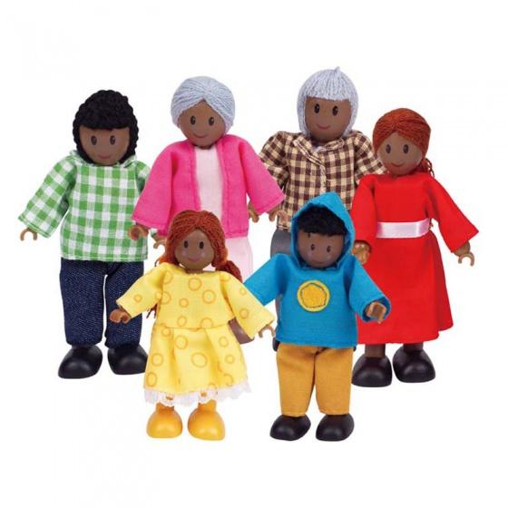 Vrolijke houten poppenfamilie uit Afrika