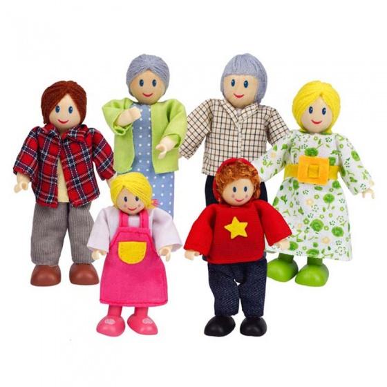 Vrolijke houten poppenfamilie uit Europa