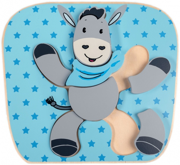 Happy People houten puzzel ezel 20x22 cm blauw