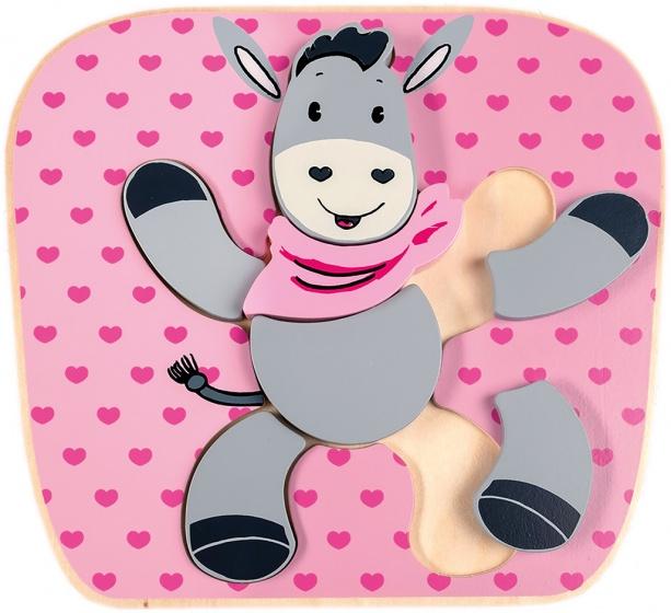 Happy People houten puzzel ezel 20x22 cm roze