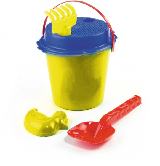 Happy People strandset in emmer junior 16 cm geel/blauw 5 delig