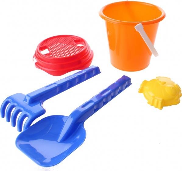 Happy People strandspeelgoed set in emmer 16 cm 5 delig oranje