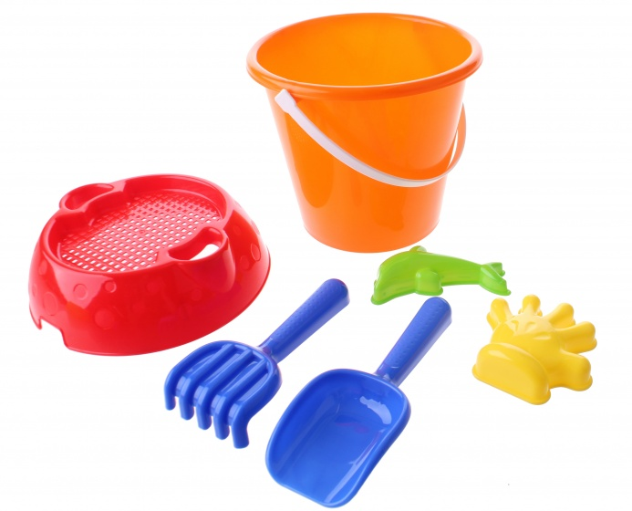 Happy People strandspeelgoed set in emmer 20 cm 6 delig oranje