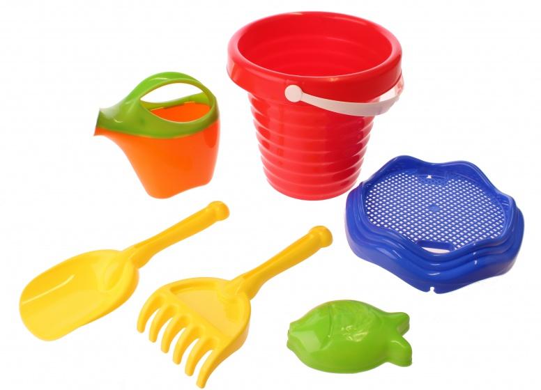 Happy People strandspeelgoed set in emmer 24 cm 6 delig rood