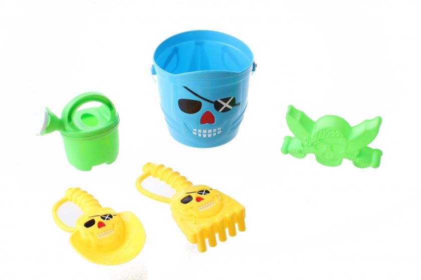 Happy People strandspeelgoed set piraat 15 cm 5 delig blauw