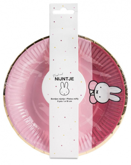 Haza Original borden Nijntje baby papier 18 cm roze 8 stuks