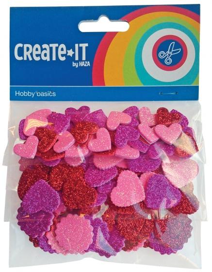 Create-it Foam Hartjes Glitter 132 St