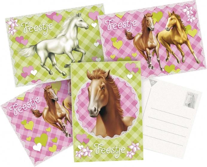 Haza Original uitnodigingen Paarden 6 stuks groen/roze